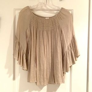 Tan Flowy Top